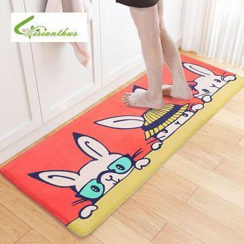 Autumn Fall welcome door mat doormat Rabbit Printed  Bathroom Living Room Kitchen Home Rug Absorbent Non-Slip Flannel Funny Entrance Floor Mats Carpet tapete AT_76_7