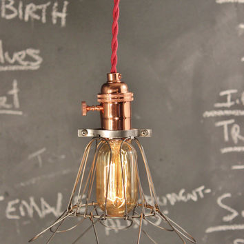 Vintage Industrial Lighting Copper Pendant Light w/ Bulb Cage