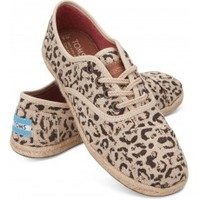 TOMS Shoes Black Snow Leopard Burlap Cordones Lace-Up Women's Sneakers,