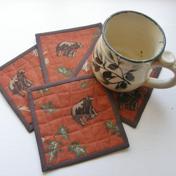 Quilted Fabric Coasters - Bears and Oak Leaves