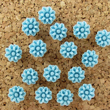 Flower Push Pins -  Decorative Thumbtacks – Blue Pushpins – Pretty Thumb Tacks – Cute Push Pins – Bulletin Board Pins – Wedding Board Pins