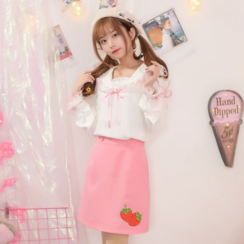 Mori Girl Women Blouses Japanese Lace Splice 2017 Spring XS-L Princess Style Sweet Hollow Out Cute Lace Collar Shirts