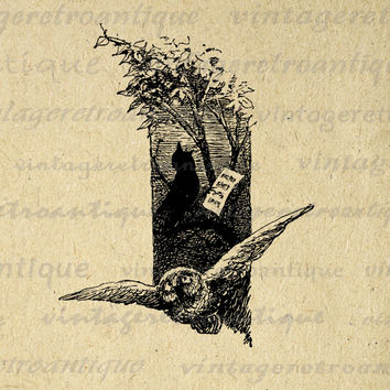 Digital Printable Owl and Singing Song Bird Image Illustration Graphic Download Antique Clip Art for Transfers HQ 300dpi No.1820
