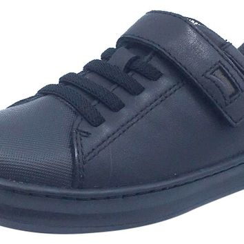 Camper for Boy's and Girl's Leather Hook and Loop Elastic Laces Black Sneaker