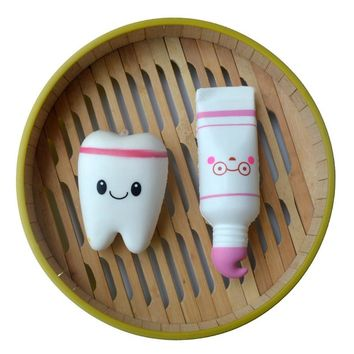 Squishy Real Life Of Tooth Pendants PU Slow Rebound Toothpaste Set