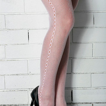 Vintage High Quality  White, Red, Rose, Brown, Black Side Seam, Steampunk, MOD Nylon Stockings Tights One Size