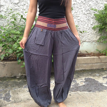 Trousers Yoga Genie Harem Pants Ethnic Tribal Hippies Baggy Boho Hobo Fashion Style Chic Clothing Gypsy Cloth For Exercise Beach Plain