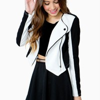 Contrast Cropped Moto