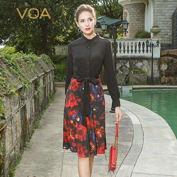 Voa Heavy Silk Print Women Midi Dress Vintage Chinese Style Elegant Long Sleeve Sexy Slim Office Lady A-Line Dress A3813