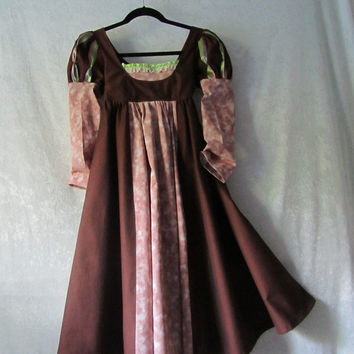 Girl's Regency/Edwardian Costume Dress: Jane Austen, Renaissance, Hobbit - Size 9/10, All Cotton Fabric With Silk Ribbon - Ready To Ship Now