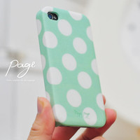 Apple iphone case for iphone iphone 3Gs iphone 4 iphone 4s iPhone 5 : mint green polka dots