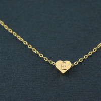 Personalized gold tiny heart necklace, gold vermeil over sterling silver chain - gift, casual, everyday, Valentine's day, anniversary