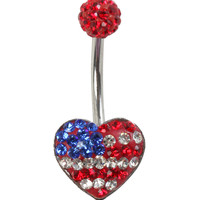 "14G 3/8"" Steel Tiffany Americana Heart Navel Barbell"