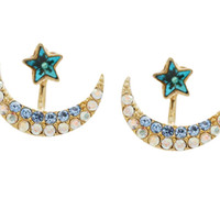 Star with Moon Ear Jacket, Blue and Black Ear Cuff, Stud Earrings