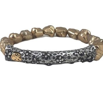 Tat2 Designs Silver Plated Bata Nugget Stretch Bracelet