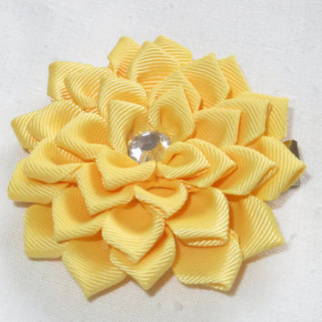 "Yellow Hair Clip 3"". Hair Flower. Satin Hair Flower. Ribbon Flower.  Yellow Flower. Kanzashi Flower.Hair clip< child<adult."