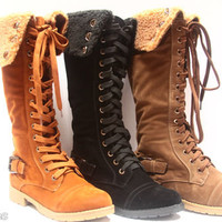 Women's Winter Military Zipper Shearling Lace Up Knee High Mid Calf Boot Shoes