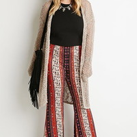 Floral-Striped Flared Pants