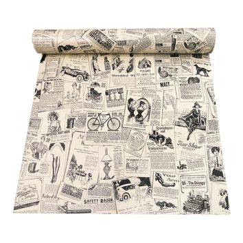 3D Retro Stereo Newspaper Pattern Wall Paper Waterproof Wall Stickers Self-adhesive Vintage Stickers Wallpaper 45 * 100 cm
