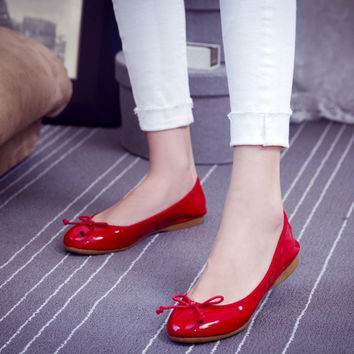 Bow Loafers Dance Flats Slip-on Shoes 7580