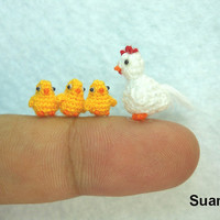 White Hen And Yellow Chicks  - Micro Crocheted Chickens - Set of Four Chickens - Made To Order
