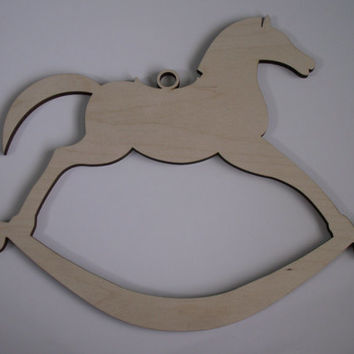 Large Rocking Horse Wood Cutout, Laser Cutouts, Unfinished Wood, Home Decor, Nursery Wall Art, Baby Shower Decorations, Door Hangers