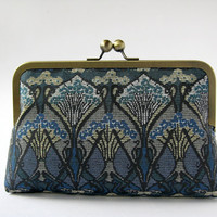 Art Nouveau Ikat Liberty of London Print in Blue clutch in Silk lining, Geometric clutch, Party clutch, Formal purse, Evening bag