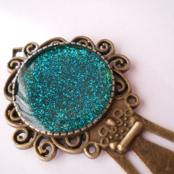 Glitter bookmark, antique bookmark, resin bookmark, turquoise bookmark, antique brass sparkling bookmark, book lover gift, readers gift