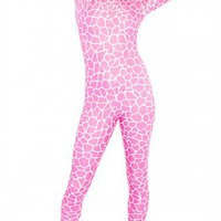 Nicki Minaj Pink Giraffe Lycra Spandex Bodysuit, Zipped Catsuit from DCUK