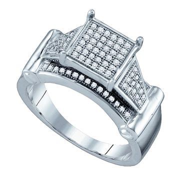 Sterling Silver Womens Round Diamond Elevated Square Cluster Bridal Wedding Engagement Ring 1/4 Cttw