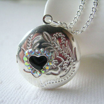 Initial Locket Personalized Locket Heart Locket Hidden Message Small Silver Locket Gemstone Necklace Valentine Locket Black Heart Rhinestone