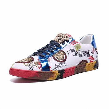 Versace Fashion Casual Running Sport Shoes White Multi Gold Sneakers  - Best Deal Online