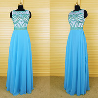 Blue and green beaded chiffon bridesmaid dress, long prom dresses, evening dress,formal dress,wedding dress,wedding bridal dress DP146