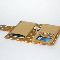 Milky Brown Point Fabric Samsung S5-S4-S3 Samsung Galaxy Note2-Note3 IPhone 6 IPhone 5 IPhone 4 Cell Phone Case Wallet