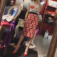 """Dolce & Gabbana"" Women Temperament Retro Fashion Love Heart Pattern Print Short Sleeve T-shirt Skirt Set Two-Piece"