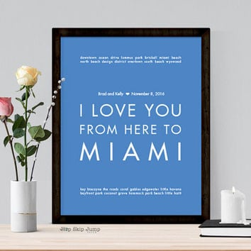 Miami Beach Wedding, Destination Wedding Gift Idea for Couple, Personalized Art Poster, First Anniversary, Art Print, Wall Hanging