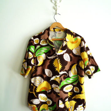 Womens Vintage Sunflower Floral Print Front Pocket Blouse