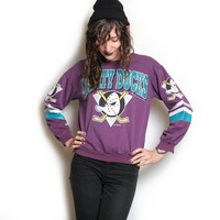 90s Mighty Ducks Sweatshirt - Mighty Ducks - Crew Neck - Hockey Sweatshirt - Hockey Crew Neck - Size Small - Disney Shirt - 90s 1990s Sporty