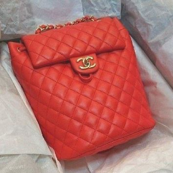 CHANEL Backpack Rucksack Bag 2 Way Red Women Luxury fashion Auth Italy Rare