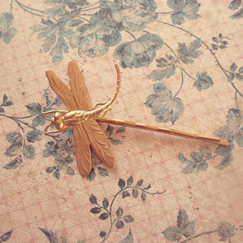 Gold Dragonfly Bobby Pin by dreamsbythesea
