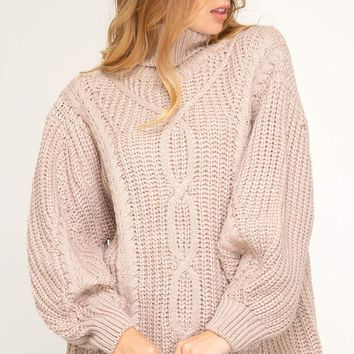 Women's Long Sleeve Turtleneck Cable Knit Sweater