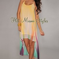 Yellow Water Color T-Strap Back High-Low Dress