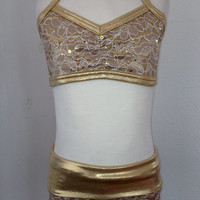 Gold Sequined Lace Convertible High Waist by Detailsdancewear