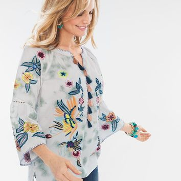 Chico's Embroidered Birds Top