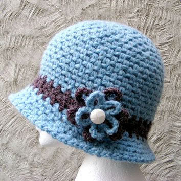 Blue Crochet Cloche Hat with Flower - Womans Large Warm Winter Hat in Ice  Blue with 0c9ac71a2cb