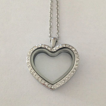 Living floating memory charms crystal heart locket large 30mm stainless steel