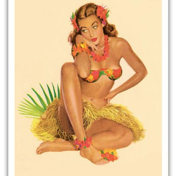 Hawaiian Pin-Up Girl - June 1949 Calendar - Vintage Pin Up Calender Page by Al Moore c.1949 - Hawaiian Master Art Print - 9in x 12in
