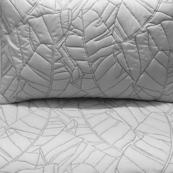 Cotton Bedspread Light Grey Leaf Quilt Pattern King Size Bedspread Bedding  Coverlet Embroidery Pattern Contemporary Quilt