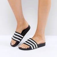 adidas Originals Adilette Slider Sandals In Black at asos.com