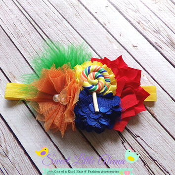 Rainbow Headband, Lollipop Headband, Birthday Feather Headband, Big Flower Hairband, Hair Bow Clip, Candy Headband, Newborn Photo Prop